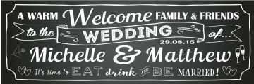 A warm welcome family and friends banner